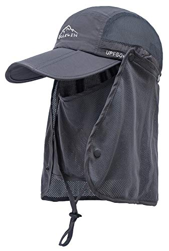 - ELLEWIN Outdoor Fishing Flap Hat UPF50 Sun Cap Removable Mesh Face Neck Cover, D-grey/ Mesh Neck Cover, M-L-XL