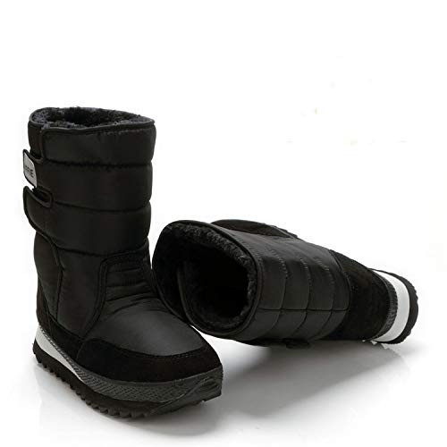 Love & Freedome Men Shoes Winter Boots Shoe Solid Black Snow Boots Plus Size 36 to Big 47 Style Warm Male Best Sell,Black,47