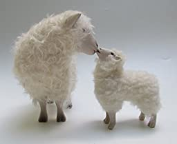 English Cotswold Ewe and Lamb Kissing Figurines, Porcelain, Mohair