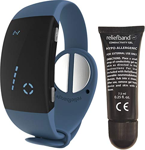 Reliefband 2.0 Motion Sickness Wristband - Easy-to-Use, Fast, Drug-Free Nausea Relief Band Helps w/Morning Sickness, Nausea, Sea Sickness, Retching, Vomiting (USB Charging Cable Included, Slate)