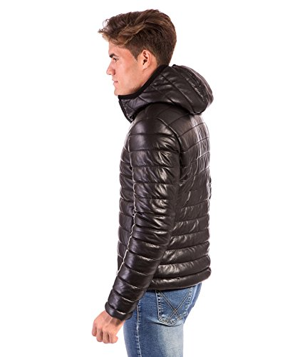 Jacket Hooded Down D'Arienzo Teo Black Black Leather Lamb wHxYOT4Y