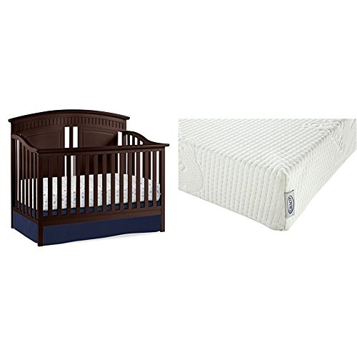 Thomasville Kids Majestic 4-in-1 Convertible Crib, Espresso with Graco Natural Organic Foam Crib and Toddler Mattress by Thomasville Kids (Image #1)