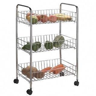 3 Tier Kitchen Cart Rack Storage Shelf Caddy Fruit Vegetable Trolley Wheels U66