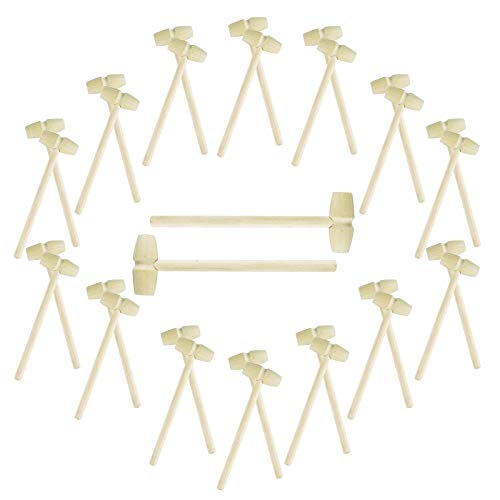 FADIKX 30Pcs Wooden Hammer for Breakable Heart Mini Wooden Hammers for Chocolate Toy Mallets for Kids, Crafts and Party Game Props
