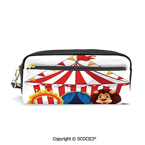 Printed Pencil Case Large Capacity Pen Bag Makeup Bag Funny Clowns at The Circus Festive Hoop Amusement Cheering Traditional for School Office Work College Travel -