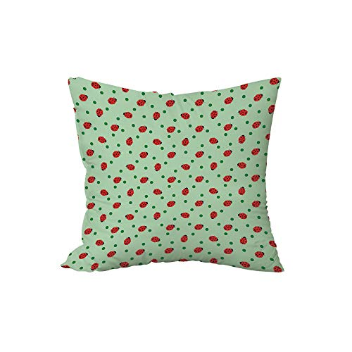 iPrint Polyester Throw Pillow Cushion,Ladybugs,Traditional Polka Dots Background Abstract Cute Ladybug Insects Fun Design,Green Red Black,17.7x17.7Inches,for Sofa Bedroom Car Decorate ()