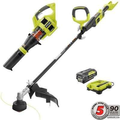 Ryobi Gas-Like Power 40-Volt Lithium-Ion Cordless Jet Fan Blower/ Trimmer Combo Kit - 3.0 Ah Battery and Charger Included Accepts Ryobi Expand-It Attachments by RyobiPower