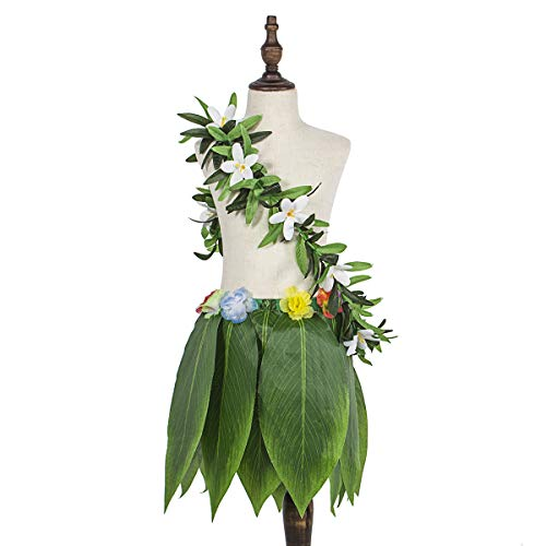 Hula Halloween Skirt (Ti Leaf Hula Green Grass Skirt with Hawaiian Luau Leaf Flower Leis Beach Summer Holiday Wedding Party Dress Decor)