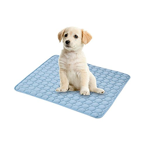(Fewao Pet Cooling Mat Summer Dog Cat Ice Pad Sleeping Cool Ice Silk Dog Bed Non Sticking Non-Toxic Breathable Washable Pet Cooling Mat for Small/Medium/Large Dog Cat Blue S)