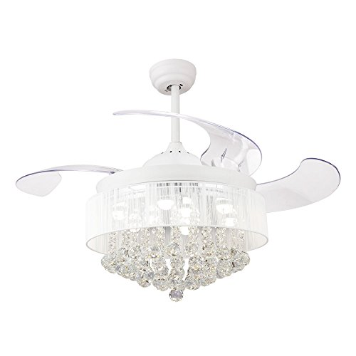Ceiling Fans with LED Lights 46 Inch Ceiling Fan with Remote Crystal Chandelier Fans with Retractable Blades, Replaceable 4000K Cool White Lights, Not Dimmable, White