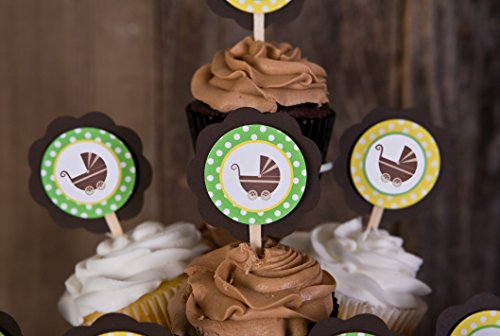 Carriage CUPCAKE TOPPERS - Green Yellow & Brown Baby Carr...