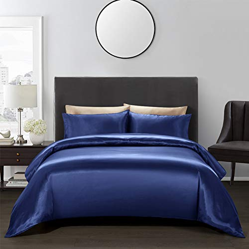 AiMay 3 Piece Duvet Cover Set (1 Duvet Cover + 2 Pillow Shams) Satin Silk Luxury 100% Super Soft Microfiber Bedding Collection (Queen, Royal Blue)