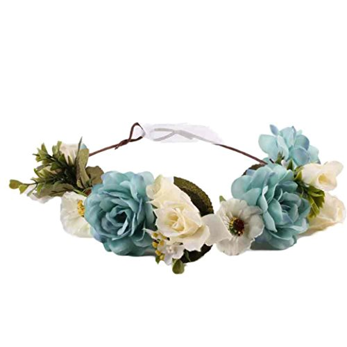 Wensltd Women Handmade Flower Hairband Wedding Wreath Bridal Headdress (Blue)