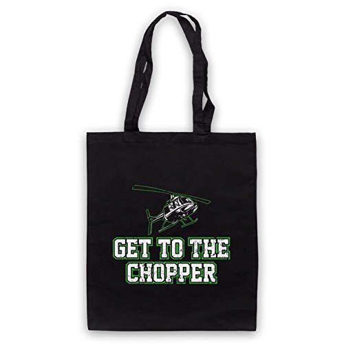 Get To The Chopper Funny Arnie Slogan Bolso Negro