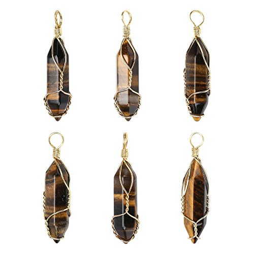 Wholesale 6 PCS Natural Quartz Crystal Pendant Handmade Wire Wrapped Quartz Healing Chakra Reiki Charm Bulk for Jewelry Making (Tigereye Quartz)
