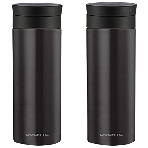 Ovente Travel Mug with Flavor Infuser, Hot/Cool Thermos, Vacuum Insulated, Stainless Steel, Nickel Brushed, 16 oz, Gunmetal (2-pack)