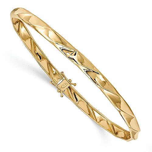 Solid 14k Yellow Gold Polished Twisted Bangle (5mm) (14k Twisted Yellow Bangle Gold)