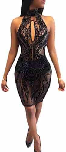 1711db92 Macondoo Womens Splice Backless Sequins Hollow Skinny Mesh Club Sleeveless  Midi Bodycon Dresses