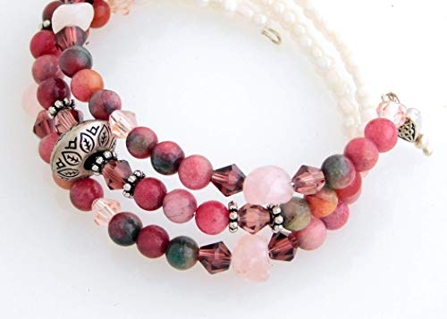 North Light Gone South Raspberry and Cream Memory Wire Bracelet