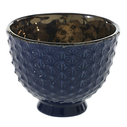 Blue Compote (Blue Ceramic Compote Vase - 4.25 x 3.25 Inches - Pierre Compote Textured Navy Blue Pot w/ Shiny Brass Interior - Modern Planter Decor for Home or Office)