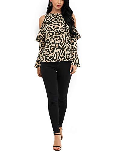 Maniche Yoins Sexy Elegante Leopardo Con Lunghe Camicetta A Off Top 03 Spalle Donna aOTnqAwx1O