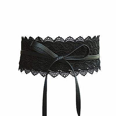 Women's Lace Belt Bow Tie Wrap Around Obi Waist Band Cincher Boho Soft PU Faux Leather For Dresses