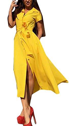 Pulsanti Donne Oscillare Alla Di Domple Solido Partito Bavero Midi Giallo Colore Delle Vestito Moda rpRqr4