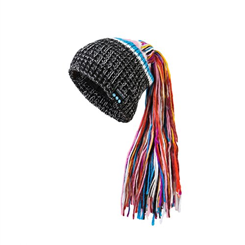 Supershop® Wireless Bluetooth V4.2+ EDR Music Hat Hands-Free Stereo Headset Beanie Winter Soft Hat with Dreadlocks Desigh, Soft Inner Polar Fleece, HD Buit-in Mic (DS-01 Black)