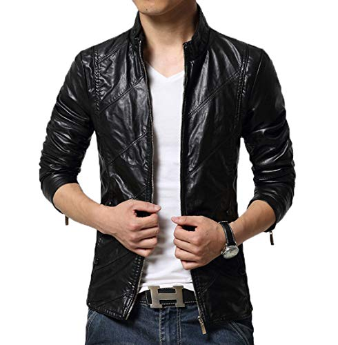 chouyatou Men's Cool Stylish Slim Fit Stand Collar Lightweight Bomber Faux Leather Jacket Coat