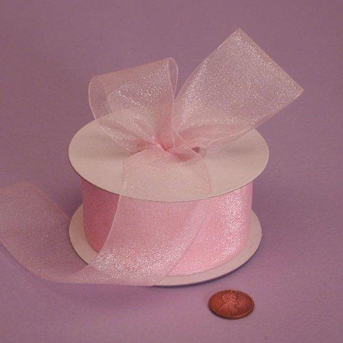 Light Pink Shimmer Sheer Organza Ribbon, 7/8
