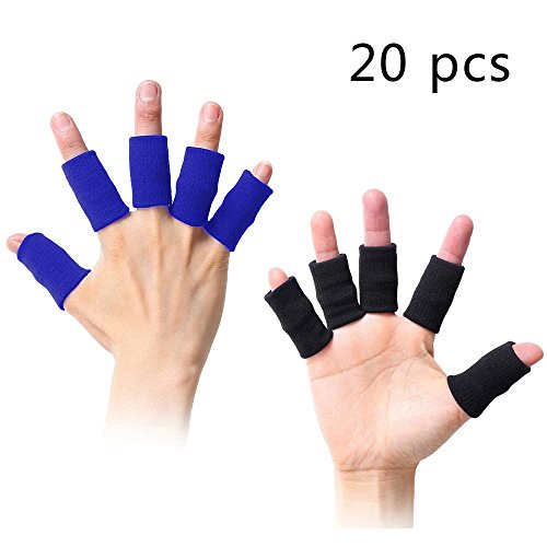 Busy Mom 20pcs Summer Finger Sleeves Sport Elastic Arthritis Trigger Braces Knuckle Compression Protector Prevent Calluses (10black&10blue)