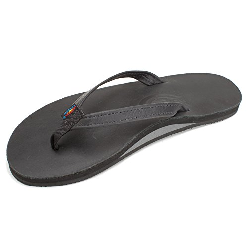 Rainbow Sandals Women's Premier Leather Single Layer Narrow Strap,Large,Classic Black Premiere Leather