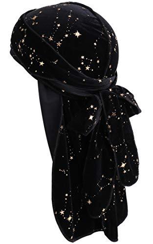 (YI HENG MEI Men 2PCS/3PCS High Premium Luxury Velvet 360,540,720 Waves Long Tail Durag (Star Black(1 Pack)))