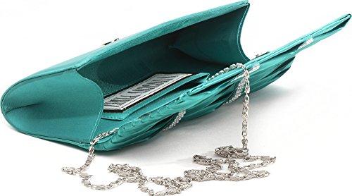 VINCENT PEREZ, Embrague, Bolsas de noche, Bolsas de hombro, Bolsas axilas, Satén, Recolección, Adorno de brillantina, 24x9.5x4.5 cm (An x Al x pr), Color: plata Verde (Smaragd)