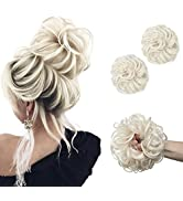 SARLA 2Pcs Updo Messy Bun Hair Piece Platinum Blonde Synthetic Scrunchies Ponytail Extension Wavy...