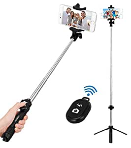 Kizen Selfie Stick Monopod with Built-In Tripod and Bluetooth Remote Shutter. Dual Sided Head, Wireless, 270 Degree Adjustable. For Apple iPhone 5,6,7,8, & Plus, Samsung Galaxy S5,S6,S7,S8 Android
