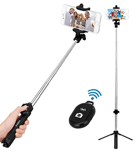 Kizen Selfie Stick Monopod with Built-In Tripod and Bluetooth Remote Shutter. Dual Side Head, Wireless, 270 Degree Adjustable. For Apple iPhone 5,6,7,8,X & Plus, Samsung Galaxy S5,S6,S7,S8 Android from Kizen
