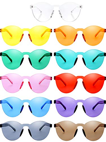 Blulu Round Rimless Sunglasses Tinted Eyewear Transparent Candy Color Sunglasses (11 Pieces, Color Set ()