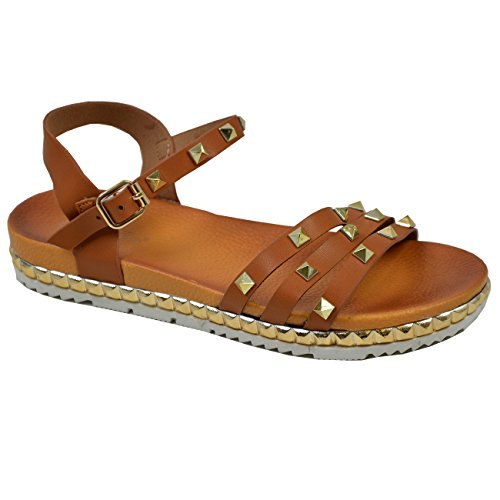 Cucu Fashion New Womens Ladies Ankle Strap Rock Studs Flat Sandals Summer Shoes Sizes UK Camel n3npeJ