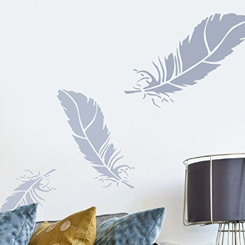 Ideal Stencils Feather stencil, home decorating stencil, wall painting, art craft, many sizes, Ltd (S/25cm/10)