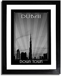 Dubai Skyline Down Town - Black And White F07-m (a4) - Framed