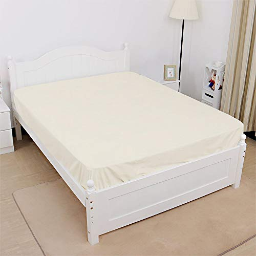 400 Thread Count, 100% Egyptian Cotton, 1 Fitted Sheet Only 15 Inch deep Pocket of Fitted Sheet, Long - Staple Combed Pure Natural Cotton Sheet, Soft & Silky Sateen Weave (Ivory Solid,King Size)
