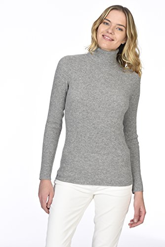 State Cashmere Women's 100% Pure Cashmere Long Sleeve Pullover Ribbed Turtleneck Sweater Heather Grey XL by State Cashmere (Image #4)