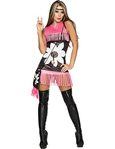 Flower Power Costume in Black/Pink Fringe, Extra Large ()