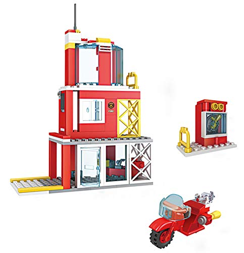 2-in-1 City Fire Station Building Set with Fire Motorcycle Fire Rescue Building Blocks Toys Fire Building Kit for Kids Aged 6 and up, 160pcs