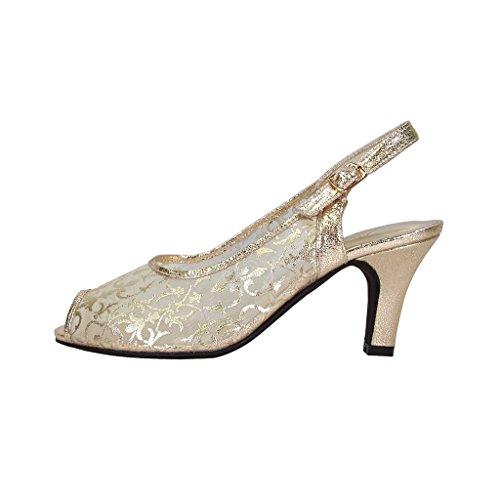 Floreale Fic Ashley Donna Ampia Apertura Peep Toe Maglia In Nylon Vestito Slingback (dimensioni / Guida Di Misura Disponibile) Oro