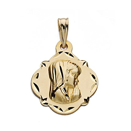 Médaille pendentif Nina Vierge de l'or 19mm 18k. [AA0605]
