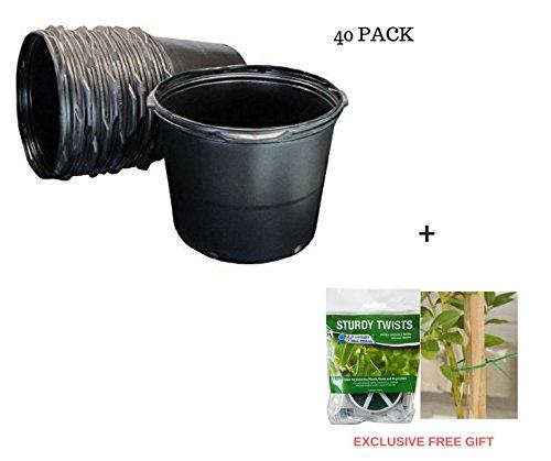 5 Gal nursery Trade Pots (4.02 gal / 15.19 Liters) 40 PACK + FreeGift