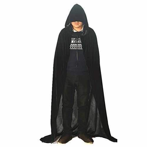 Labellevie Unisex Hooded Cloak Cape Velvet Costume Adult Party Halloween Cosplay Large Black (Velvet Hooded Unisex Cloak)
