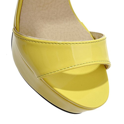Heel Open Womens Ankle High Single Strap Sexy Sole Lucksender Toe Stiletto Yellow Sandal YHEdSwq